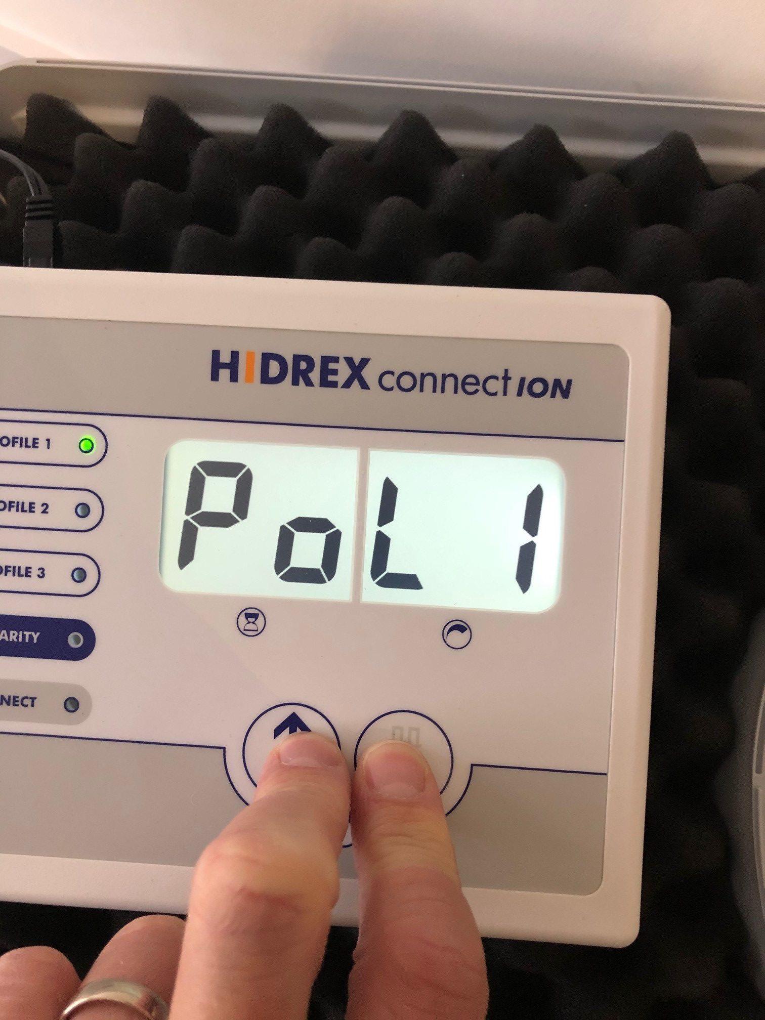 Hidrex ConnectION iontophoresis machine polarity ON