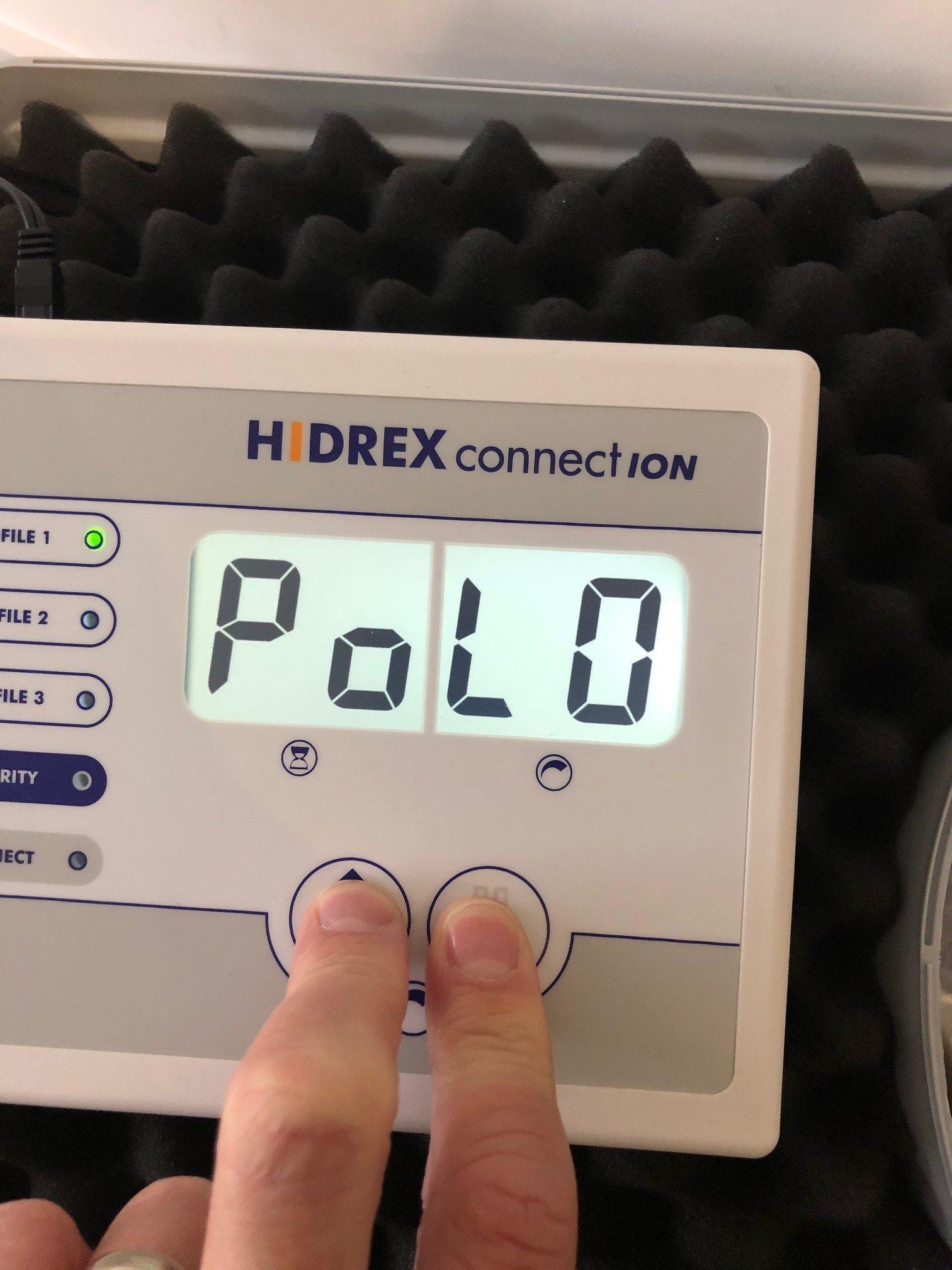 Hidrex ConnectION iontophoresis machine polarity OFF
